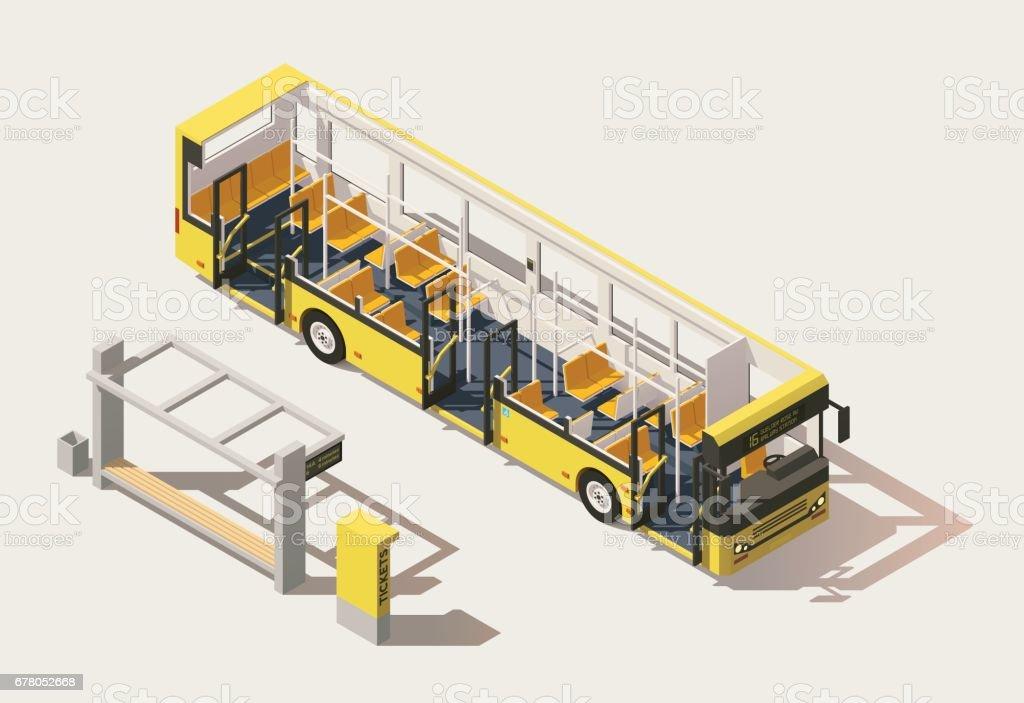 Section de bus vecteur isométrique low poly - Illustration vectorielle