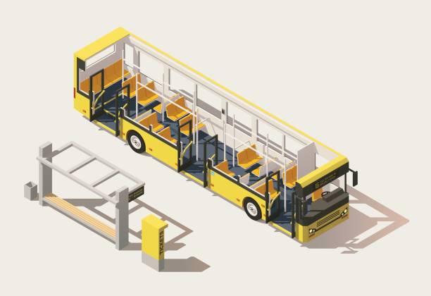 vektor-isometrische low-poly-bus-querschnitt - fahrzeugsitz stock-grafiken, -clipart, -cartoons und -symbole