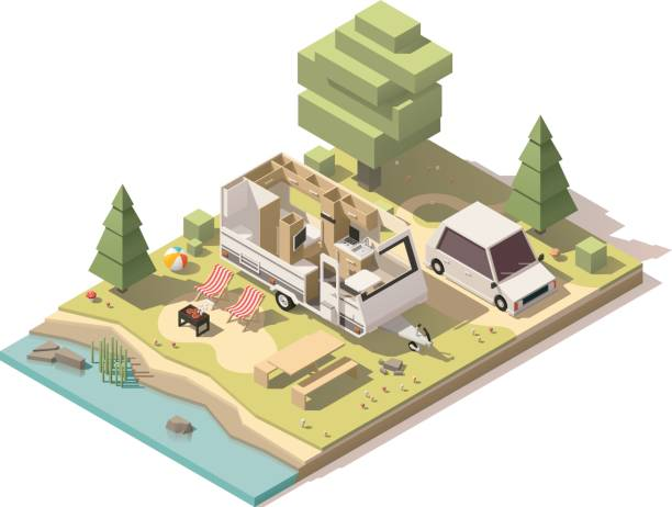 Vector isometric low poly camper in campsite Vector isometric low poly caravan trailer in the campsite rv interior stock illustrations
