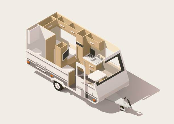 Vector isometric low poly camper trailer Vector isometric low poly caravan trailer cross-section rv interior stock illustrations