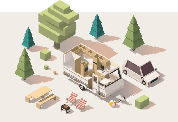 Vector isometric low poly camping equipment Vector isometric low poly caravan trailer and camping equipment rv interior stock illustrations