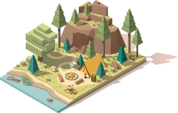 vektor-isometrische low-poly-campingplatz - bodenbetten stock-grafiken, -clipart, -cartoons und -symbole