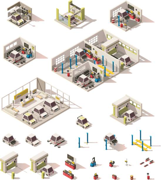 Vector isometric low poly car icon set Vector isometric low poly car ownership icons. Includes garage, car service, car wash and dealership showroom stock illustrations
