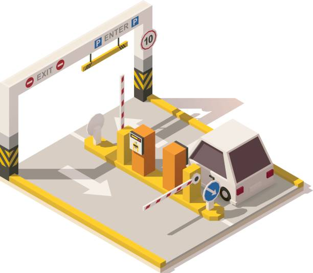 Vector isometric low poly car parking entrance Vector isometric low poly underground parking. Includes parking ticket machines, barrier gates and signs entrance sign stock illustrations