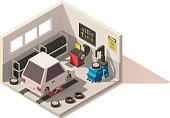 Vector isometric low poly car tire service center icon. Includes car on lift, tires, tire changer, balancing machine, other service equipment and tools