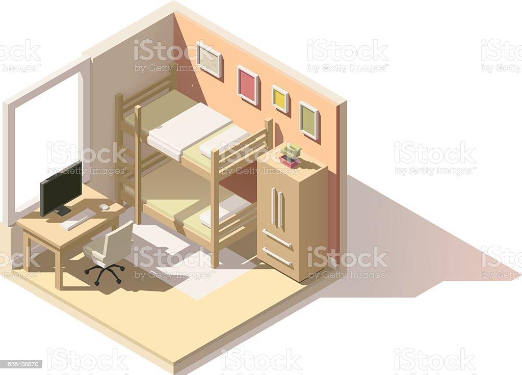 Vector isometric low poly children room icon