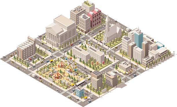 vector isometric low poly city - иллюстрации на тему архитектура stock illustrations