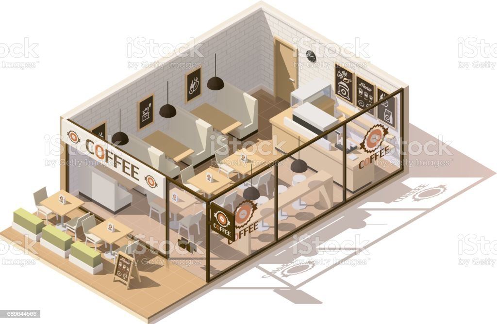 Vector isometric low poly coffee shop vector art illustration