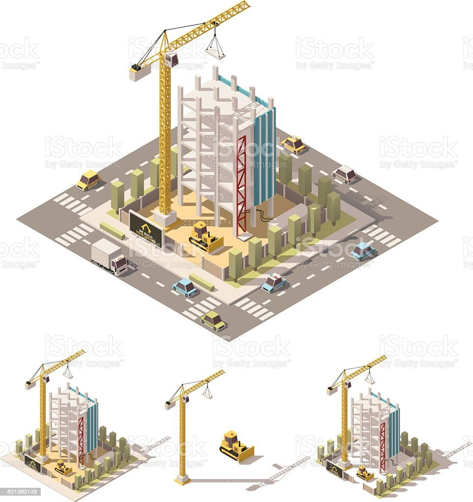 Vector isometric low poly construction site vector art illustration