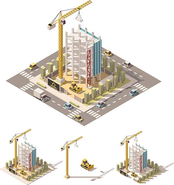 Vector isometric low poly construction site – Vektorgrafik