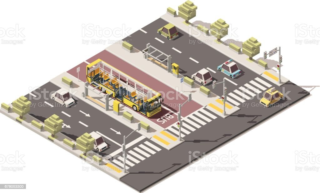Vector isometric low poly dedicated bus lane - Illustration vectorielle