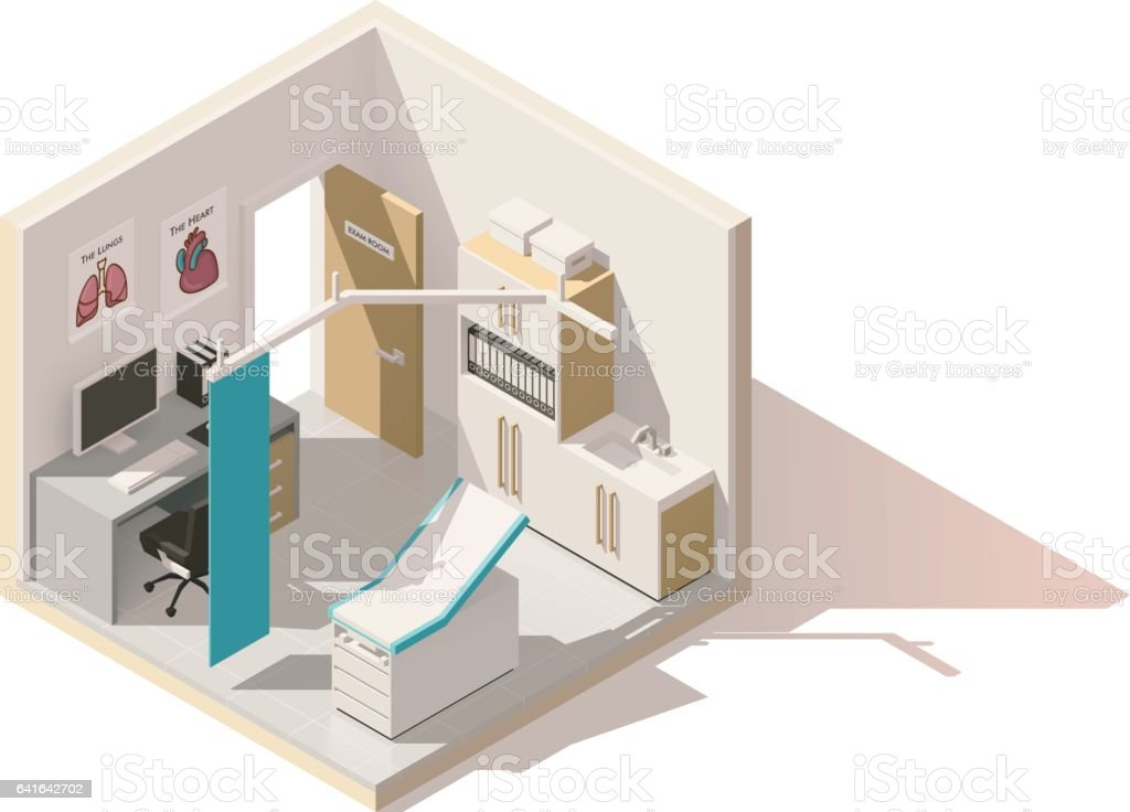 Vector isometric low poly doctors office icon vector art illustration