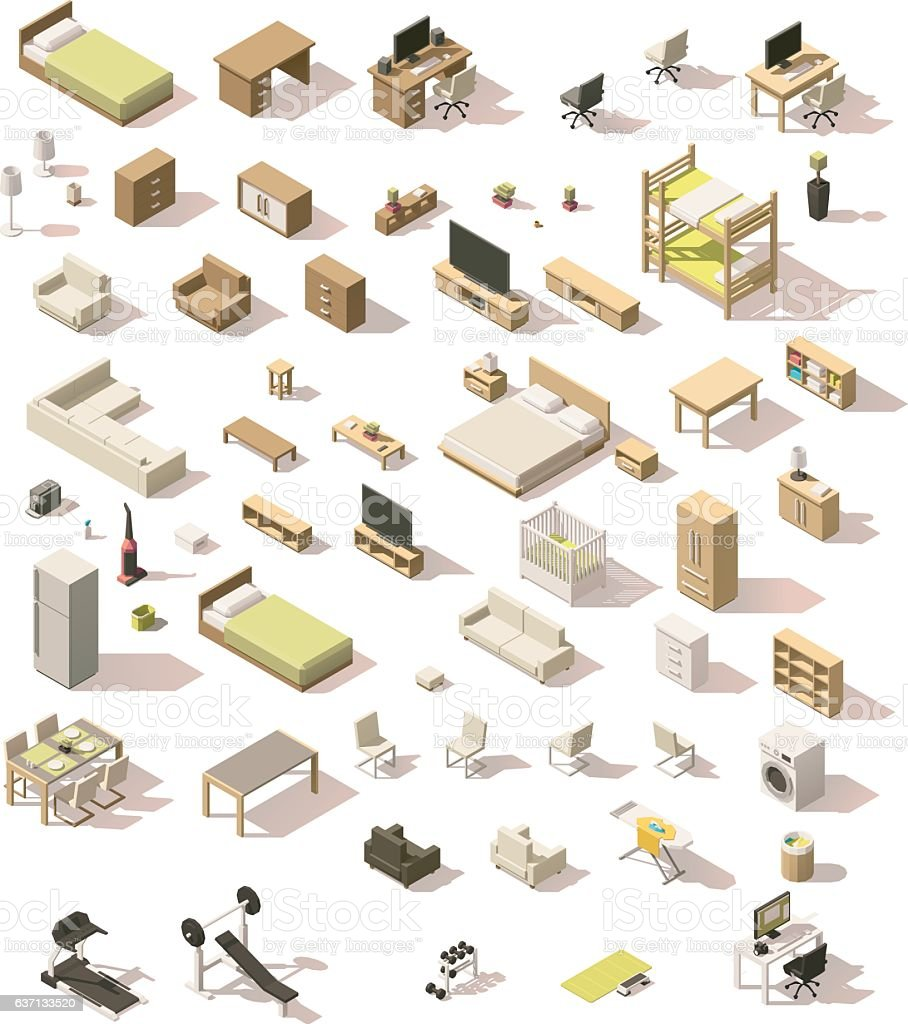 vector isometric low poly domestic furniture set stock