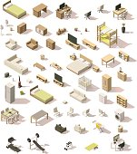 Vector isometric low poly domestic furniture and appliances set