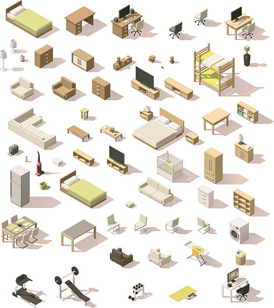 Vector isometric low poly domestic furniture set Vector isometric low poly domestic furniture and appliances set bed furniture stock illustrations