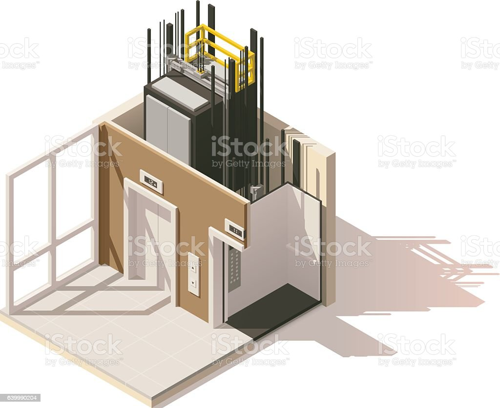 Vector isometric low poly elevator cutaway icon vector art illustration