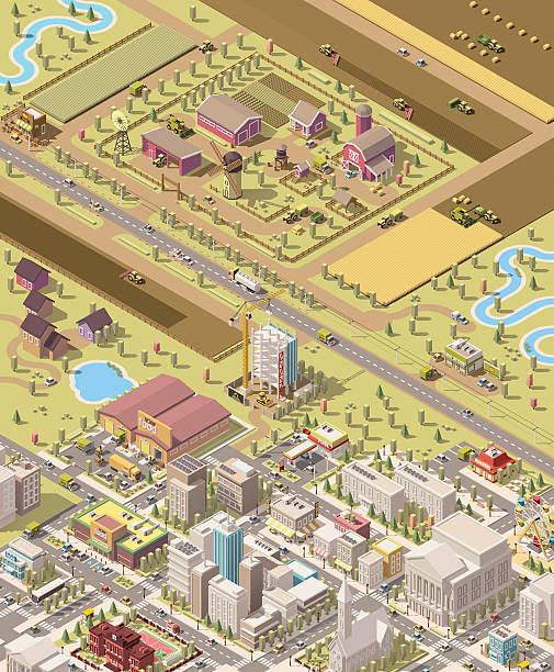 illustrazioni stock, clip art, cartoni animati e icone di tendenza di vector isometric low poly farm and city - prodotti supermercato