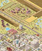 Vector isometric low poly farm and city