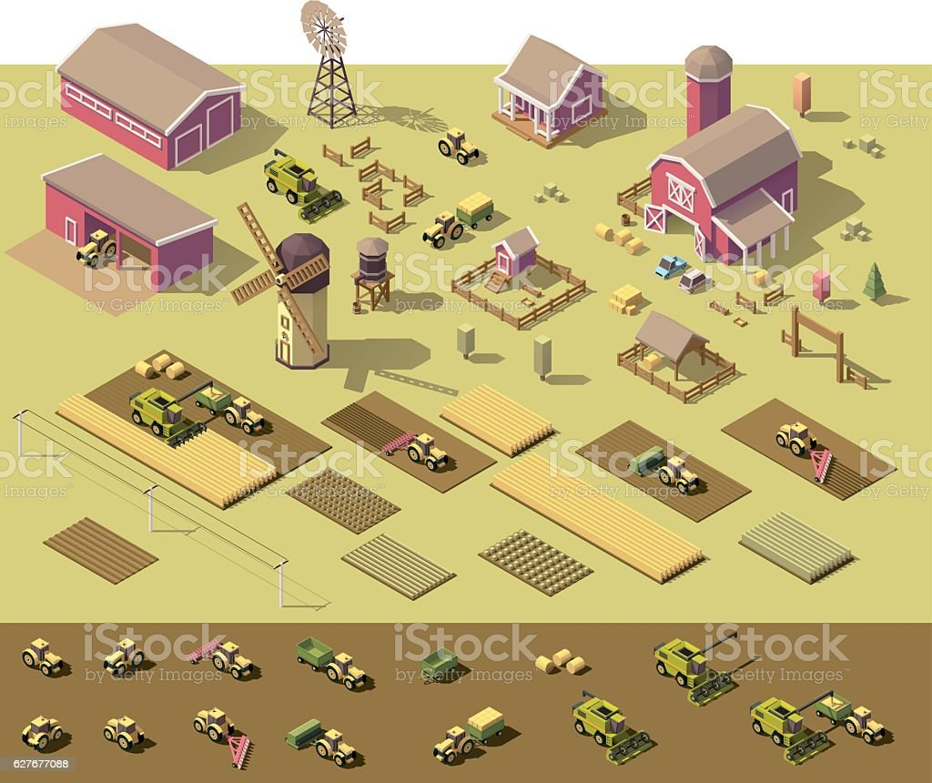 Vector isometric low poly farm elements vector art illustration