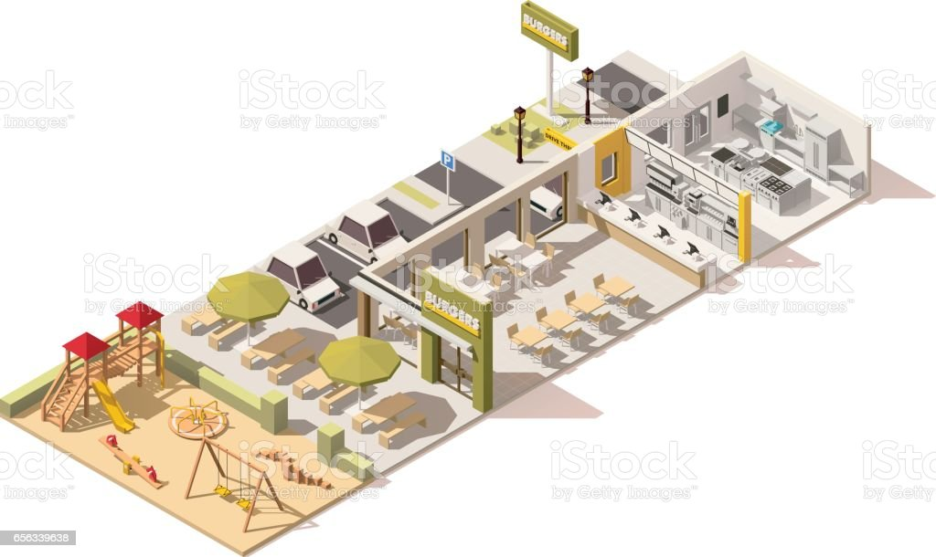 Vector isometric low poly fast food restaurant vector art illustration