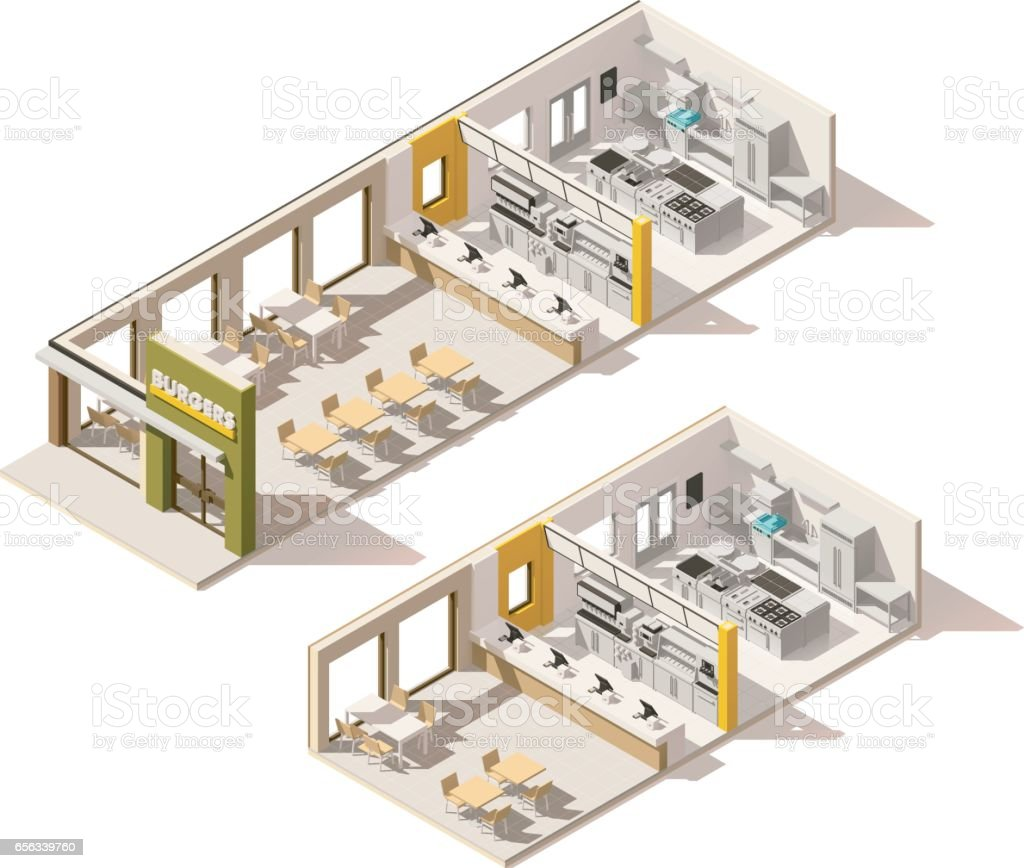 Vector Isometric Low Poly Fast Food Restaurant Stock Vector Art