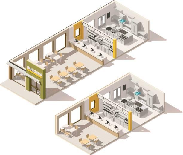 vektor-isometrische low-poly-fastfood-restaurant - gewerbliche küche stock-grafiken, -clipart, -cartoons und -symbole