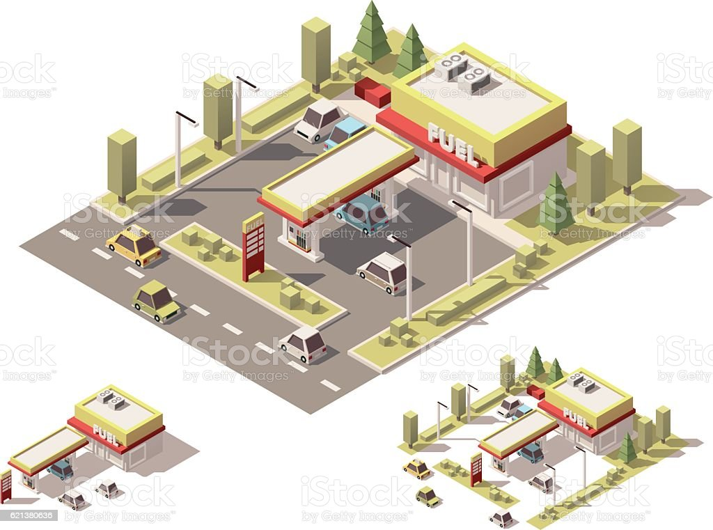 Vector isometric low poly filling station vector art illustration