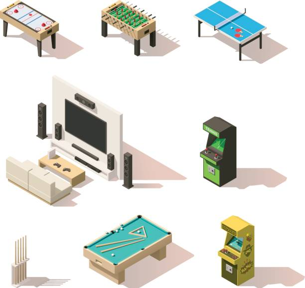 Vector isometric low poly games set Vector isometric low poly games set. Includes table-top games, arcade video games and billiards ping pong table stock illustrations