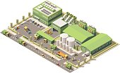 Vector isometric low poly waste recycling plant