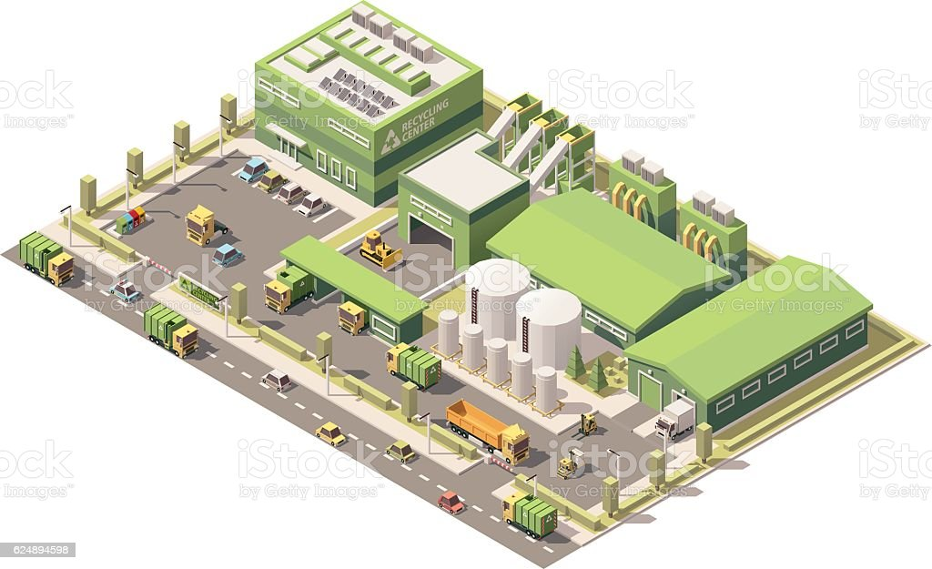 Vector isometric low poly garbage recycling center ベクターアートイラスト