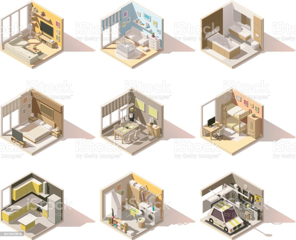 Vector isometric low poly home rooms set vector art illustration