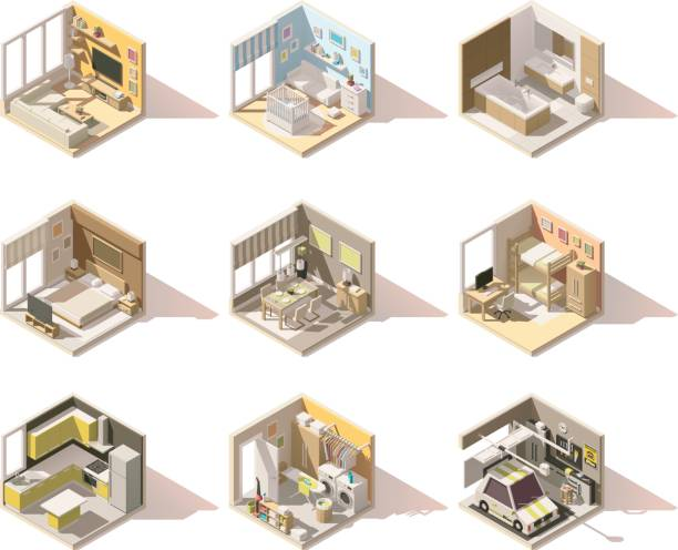 illustrazioni stock, clip art, cartoni animati e icone di tendenza di vector isometric low poly home rooms set - kitchen situations