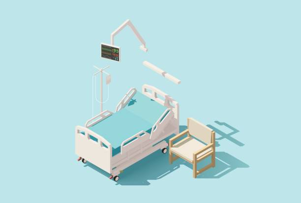 Vector isometric low poly hospital bed Vector isometric low poly hospital bed with IV stand and chair hospital bed stock illustrations
