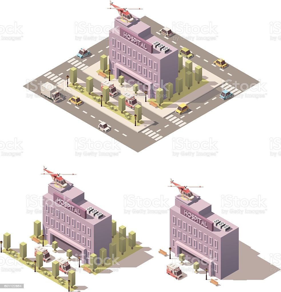 Vector isometric low poly hospital icon vector art illustration