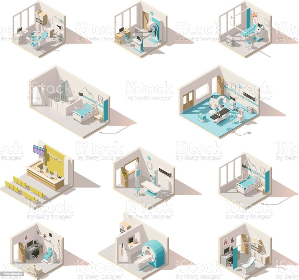 Vector isometric low poly hospital rooms vector art illustration
