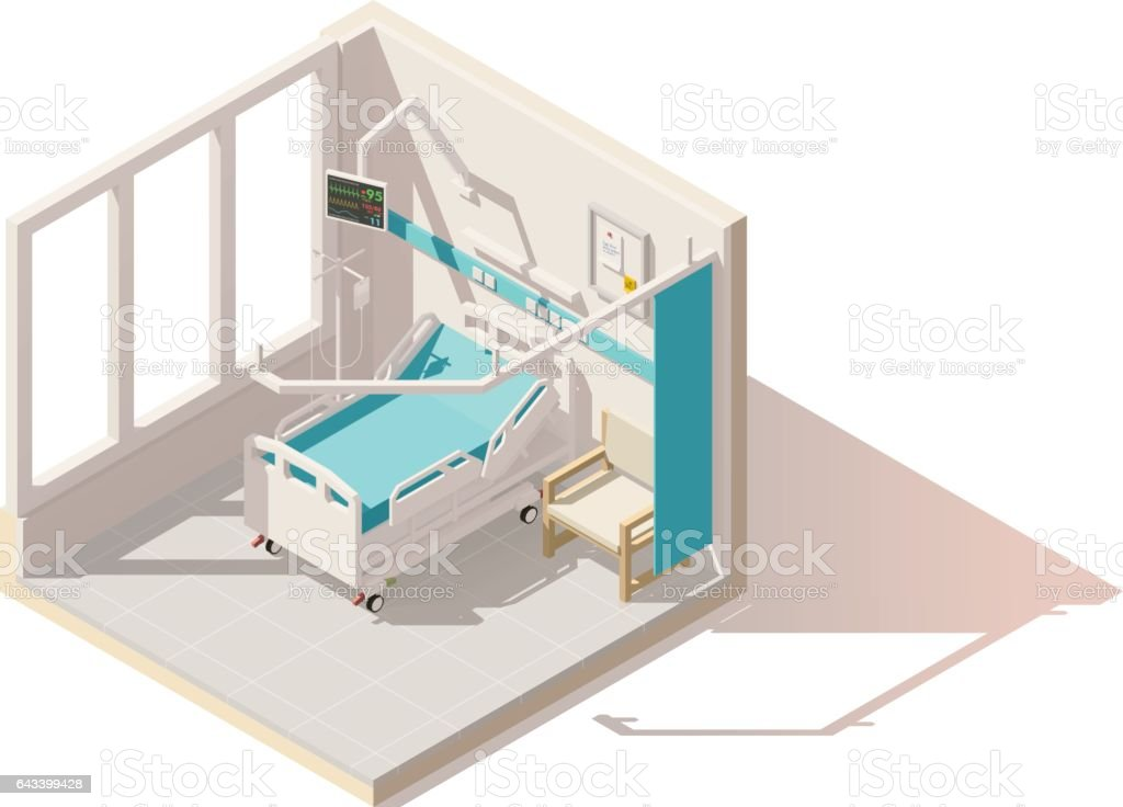 Vector isometric low poly hospital ward vector art illustration