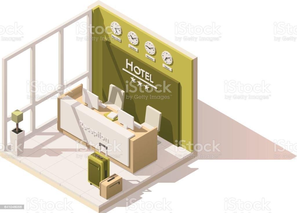 Icono de recepción del hotel vector isométrica polietileno baja - ilustración de arte vectorial