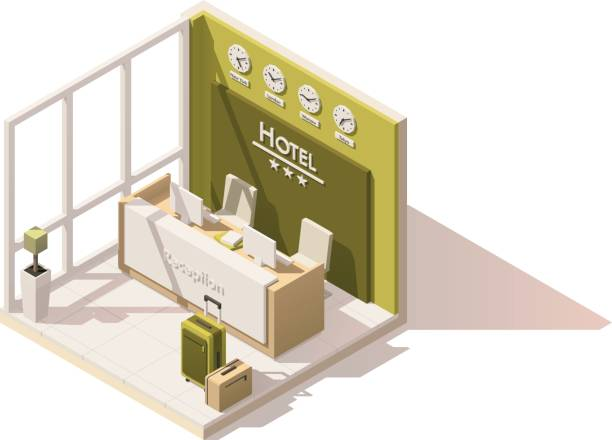 vector isometric low poly hotel reception icon - receptionist stock illustrations, clip art, cartoons, & icons