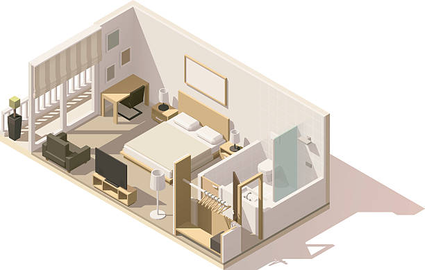 Vector isometric low poly hotel room icon vector art illustration
