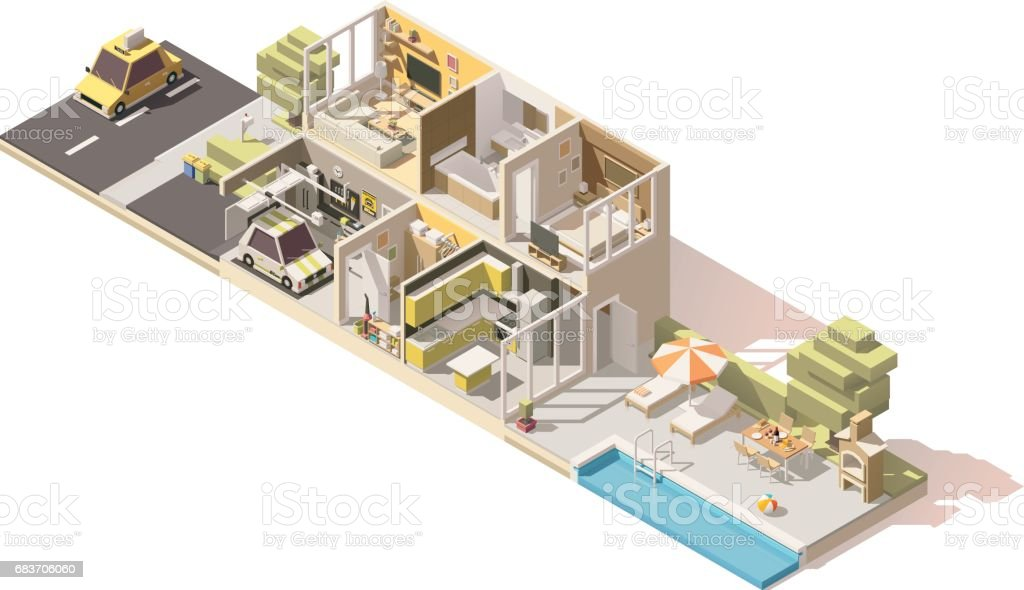 Vector isometric low poly house cross-section vector art illustration