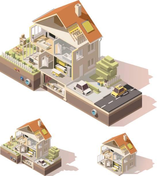 stockillustraties, clipart, cartoons en iconen met vector isometrische laag poly huis doorsnede - doorsnede