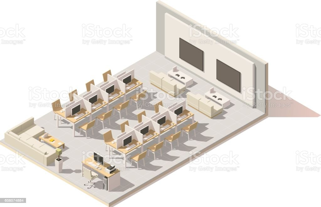 Vector isometric low poly internet cafe vector art illustration