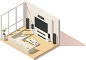 Vector isometric low poly modern living room