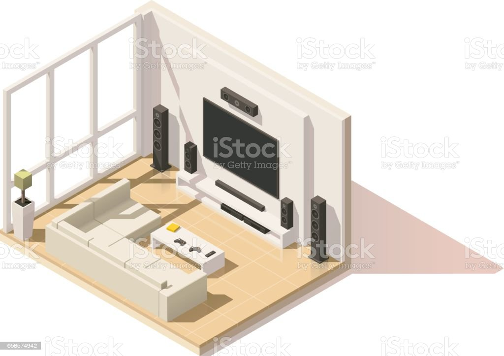 Vector isometric low poly living room icon vector art illustration