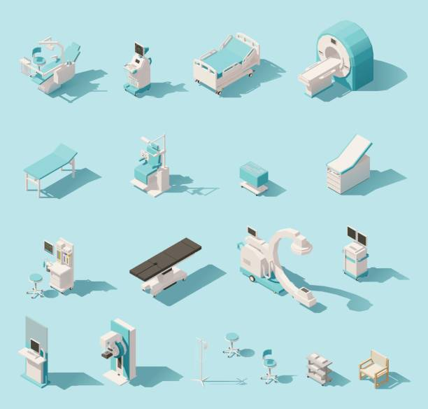 Vector isometric low poly medical equipment set Vector isometric low poly medical equipment set. Includes hospital bed, MRI, x-ray scanner, ultrasound scanner, dental chair etc radiology stock illustrations