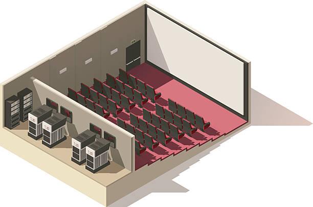 vector isometric low poly movie theater cutaway - fahrzeugsitz stock-grafiken, -clipart, -cartoons und -symbole