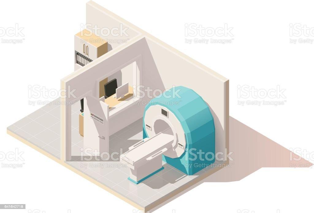 Vector isometric low poly MRI room icon vector art illustration