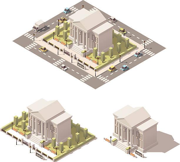 vector isometric low poly museum building icon - 美術館点のイラスト素材/クリップアート素材/マンガ素材/アイコン素材