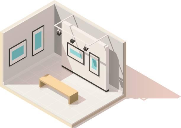 illustrations, cliparts, dessins animés et icônes de intérieur de musée vecteur isométrique low poly - museum