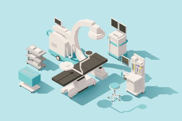 vector isometric low poly operating room - doctors office stock illustrations, clip art, cartoons, & icons